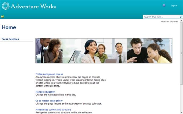 """Default home page for """"Publishing Portal"""" site in SharePoint Server 2010"""